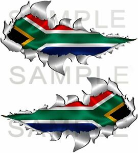 150mm Size, South African Flag Torn Metal Rip Open Sticker Off Road 4x4 Truck