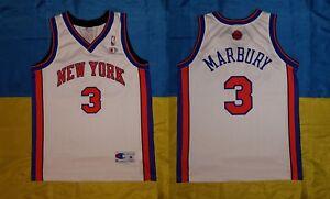 ● RARE MARBURY NEW YORK KNICKS NBA WHITE SHIRT CHAMPION SIZE MEN ADULT M ●