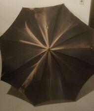 "Parasol Umbrella Black Cloth Antique Fabric AS-IS Leather Handle 43"" Vintage"