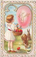 Easter PC Little Girl Basket of Colored Eggs Bunny Rabbits Egg Boarder~127265