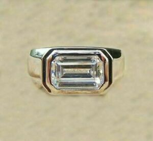 2 Ct Emerald Cut Mens Diamond Solitaire Engagement Ring 925 Sterling Silver