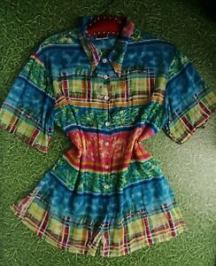 Vintage Phool made in India cotton mix lightweight summer blouse shirt 12 14 16
