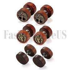 10mm Wide Wood Round Barbell Dumbbell Unisex Men's Women's Stud Earrings 6Pcs