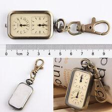 Antique Bronze Tone Analog Dual Time Pocket Key Ring Chain Unisex Quartz Watch