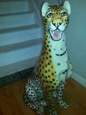 Rare large Capodimonte cheetah leopard figure sculpture