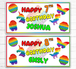 2 PERSONALISED RAINBOW POPPERS BIRTHDAY BANNERS ANY AGE ANY NAME