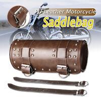 Motorcycle Front Fork Tool Roll Bag Barrel Saddlebag Luggage PU Leather Brown