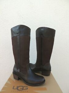 UGG TALL CASSIS LODGE BROWN DISTRESSED LEATHER/ WOOL BOOTS, US 10/ EUR 41 ~NIB
