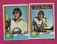 2 X 1974-75 OPC SABRES RICK MARTIN  CARD (INV# A5915)