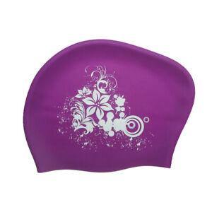 Damen Badekappe Silikon Langes Haar Mädchen Wasserdichte Badekappe Schutz Hut