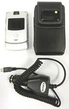 Motorola Razr / Razor V3 - Silver ( Unlocked ) Cellular Flip Phone - Bundled