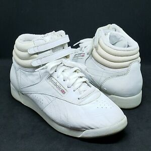 Vintage 80s Reebok Classic Freestyle Hi Rise White Leather Womens Sneakers Sz 10