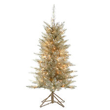 Platinum 4 Ft Tinsel Tree w/ 150 mini Lights All Seasons New In Box