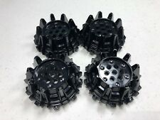 New Black LEGO Wheel Hard Plastic with Small Cleats and Flanges 64712 (x4)