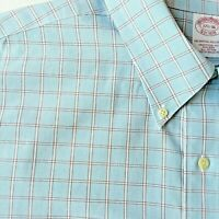 Brooks Brothers Mens  Shirt 17.5 x 36 Button Down Collar Blue Brown Plaid Design