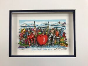 "Charles Fazzino 3D Artwork "" Blue Skies Over New York "" Signed & Numbered Blue"