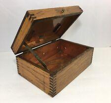 Vintage Antique Tiger Oak Wood Copper Lined Cigar Humidor Dovetail Storage Box