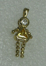 Cute 14K Solid Gold Girl Charm With Yellow Stone SPECIAL & UNIQUE!  N199-D