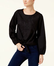 INC(MY8228-44-46-64) Embroidered Tie-Front Cotton Blouse  Top Black Sz L $69.50