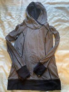 Women's Lululemon Striped Jacket Black & White W/ Hood Sz 4