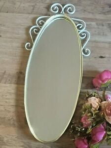 "Vintage Shabby Chic Oval Wall Mirror , Retro 60s Metal Worked Frame 26"" Tall"