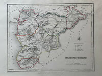 1848 Merionethshire, Wales Original Antique Hand Coloured Map 172 Years Old