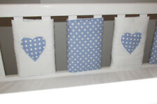 NEW Babies Blue & white spots with Applique Heart  Cot bar Bumpers (pack of 8)