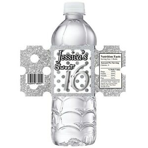 SILVER GLITTER/ WHITE SWEET 16 BIRTHDAY PARTY FAVORS WATER BOTTLE LABELS SIXTEEN
