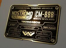 CUSTOM ALIEN NOSTROMO CM-88B SPECIFICATIONS DATA PLATE PROP ALIENS GIGER
