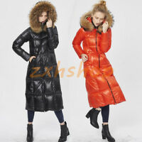 Luxus Damen Dicker Daunenjacken Pelzkragen Warm Parkas Overknee Kapuze Winter