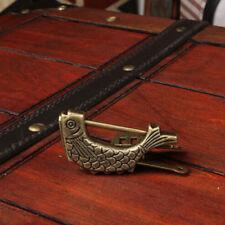 Bronze Antique Fish Design Chinese Wooden Box Lock Jewelry Chest Box Lock Jian
