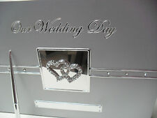 DELUXE Wedding Guest Book Pen - Brushed Silver Diamante Double Love Hearts