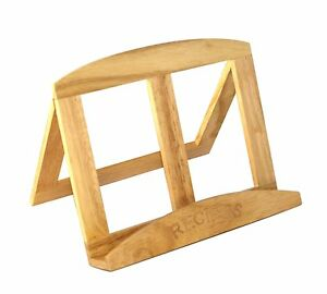 Natural Wood Wooden Cook Cookery Book Recipe Holder Reading Stand Rest Kitchen