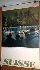 Original Vintage Travel Poster Switzerland Suisse 1960's Crew Rowing