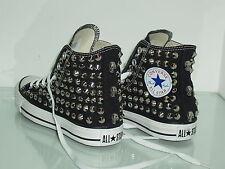 Converse all star Hi borchie teschi artigianali scarpe donna uomo nero