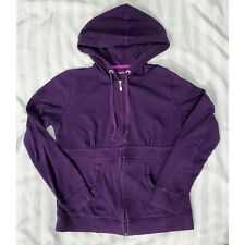 Womens Purple Cotton Zip Up Hoodie Sweatshirt Jacket
