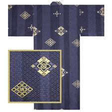 "Japanese 61"" Unisex Cotton Navy Kimono Yukata Robe Hishigata Komon Made in Japan"