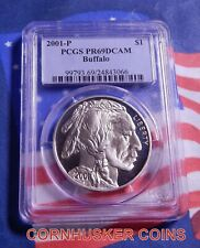 2001-P BUFFALO COMMEMORATIVE SILVER DOLLAR PCGS PR69DCAM ~ MIRROR FINISH  👀