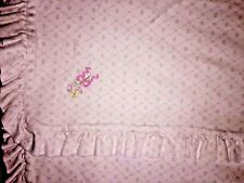 LeTop Baby Girls Lovey Security Blanket Cotton White Flora Print ruffle EUC