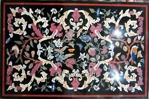 Multi Gemstones Inlay Center Table Top Black Marble Coffee Table 24 x 36 Inches