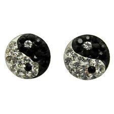 Pair Of Sterling Silver  925  Sparkly Ying Yang Ball  Stud Earrings !!   New !!