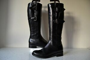 """CLARKS """"TAMRO SPICE"""" BLACK LEATHER KNEE HIGH FLEXIBLE CALF BOOTS UK 4D RRP £135"""