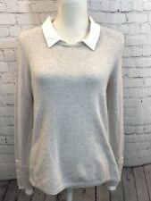 JOIE Sweater Top XS Cashmere Wool Blend Gray Long Sleeve Knit Shirt Collared