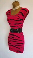Jane Norman Sexy Hot Pink Black Animal Print Sleeveless jumper Dress Bodycon 8