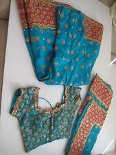 Chaniya Choli Turq/Orange w/Gold Embroidery Sequence w/White Beads S/M Beautiful