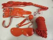 Bondage Kit 6 Piece Set Red Restraints Sex Toy Cuffs Whip Gag Rope Nipple Clamps