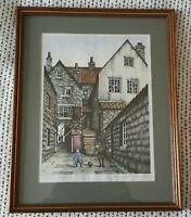 Gill Butterfield Signed Ltd Edition Print 118/450 - Arguments Yard Whitby Framed