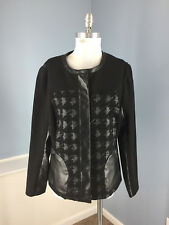 HILTON HOLLIS XL 12 14 Black Blazer Jacket Faux Leather Zip Wool Alpaca Moto EUC