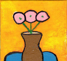 Pink Flowers With Gold Vase Floral Painting