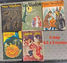 Vintage Halloween 9 Children Magazines 30's 40's 50's w Halloween Covers